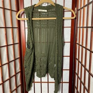 Hunter green crochet boho vest